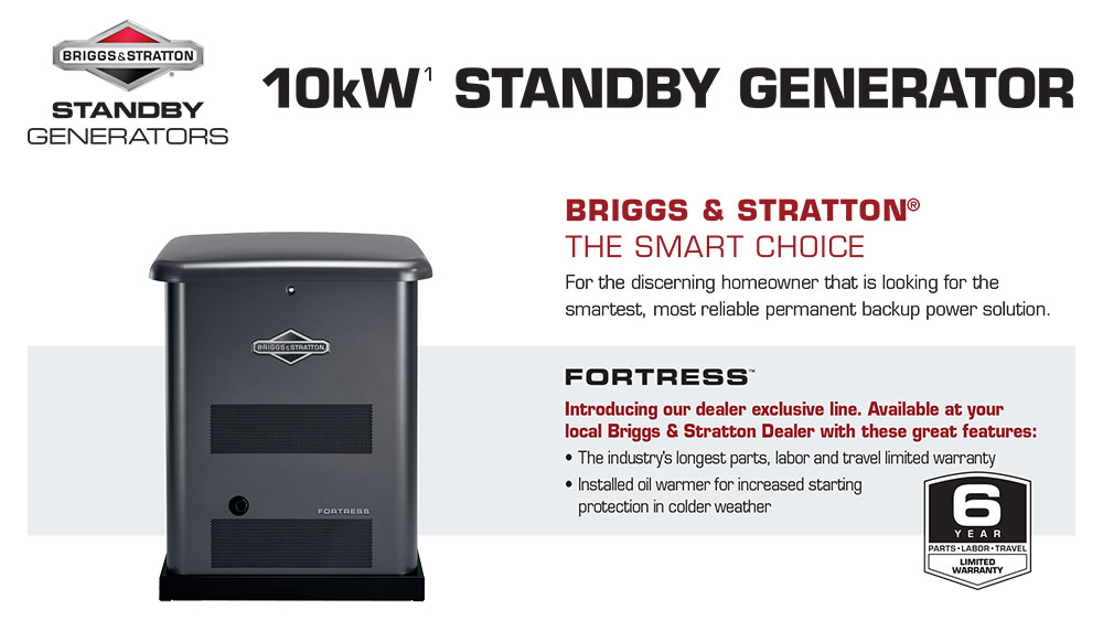 10kw Brigg & Stratton Fortress Generators covering  Broward,  Palm Beach, and Brevard counties