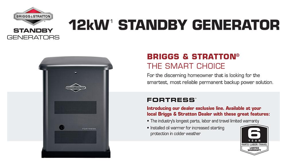 12kW Briggs & Stratton Fortress Standby Generators
