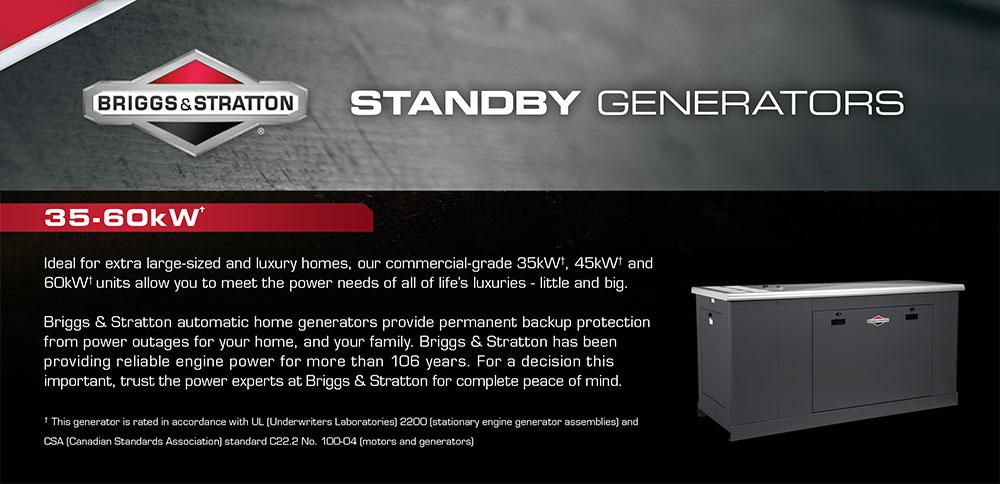 35-60kW Briggs & Stratton Fortress Standby Generators