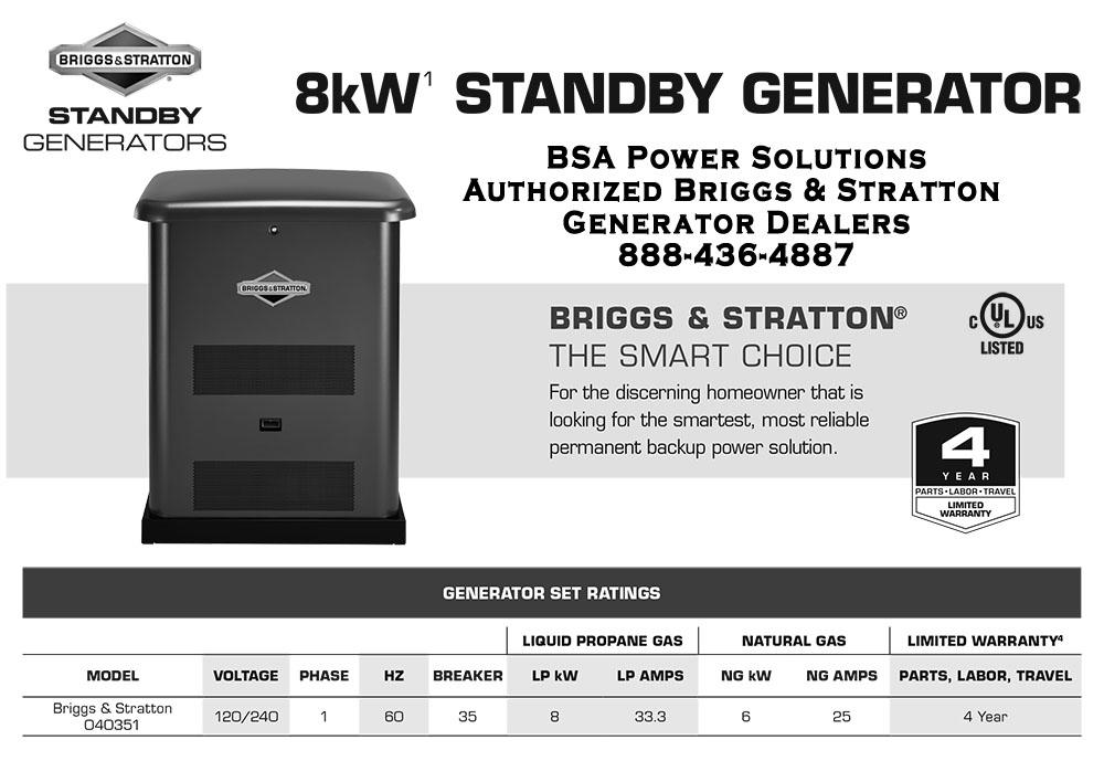 8kW Briggs & Stratton Standby Generator