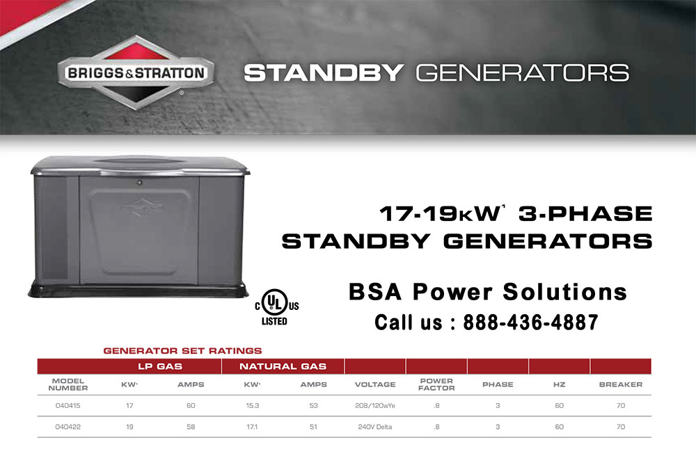 Briggs 7 Stratton 17-19kW 3-PHASE Standby Generators