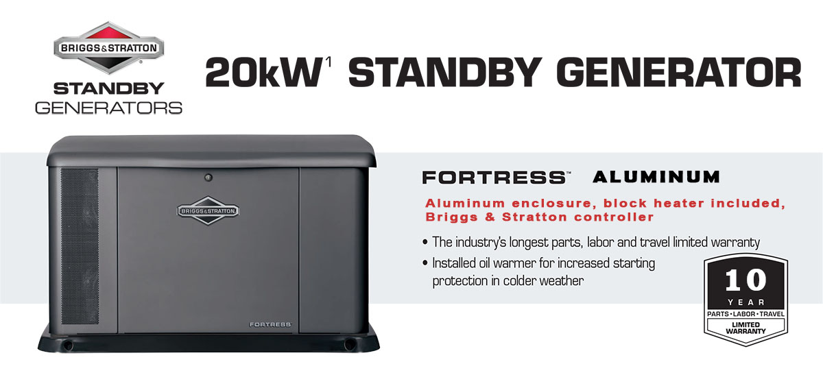 20kW Briggs & Stratton Fortress Aluminum Standby Generator by BSA Power Solutions