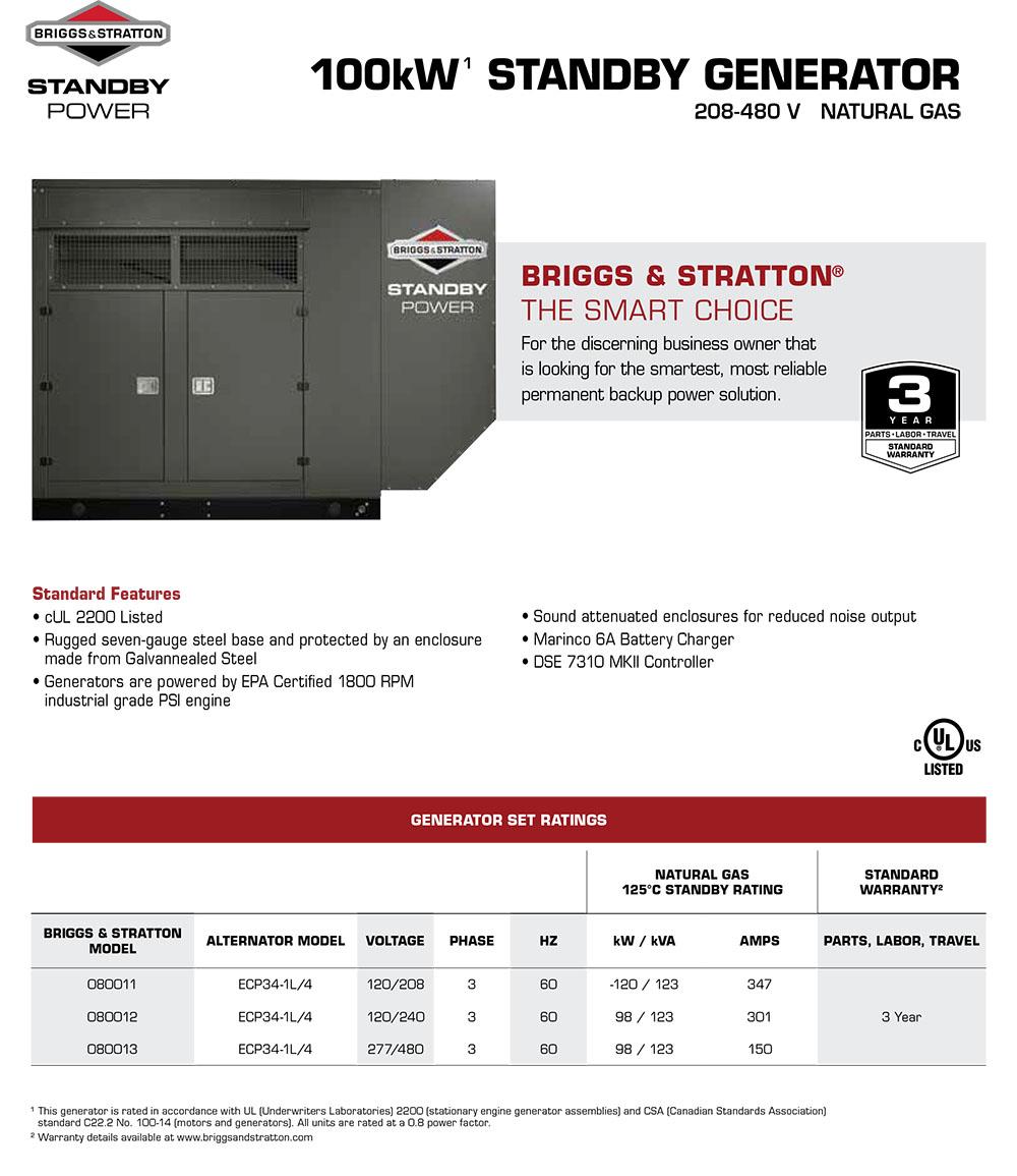 Briggs & Stratton Natural Gas 100kW STANDBY GENERATOR