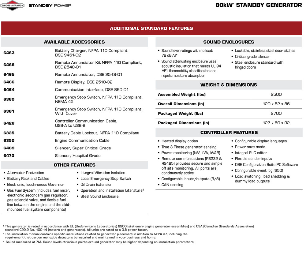 Briggs & Stratton Natural Gas 80kW STANDBY GENERATOR