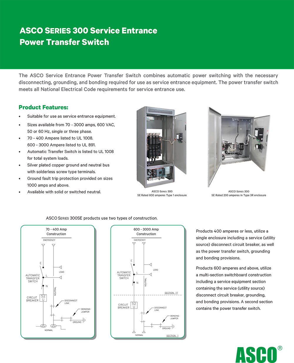 Service Supply Transfer : Asco series service entrance power transfer switch